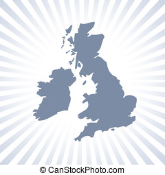UK and Eire map - Outline map of UK and Eire over stripe...