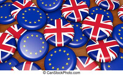 UK And EU Flag Badges Background