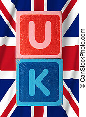 uk and flag in toy block letters