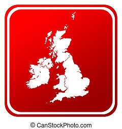 UK and Ireland map button - Red United Kingdom and Ireland...