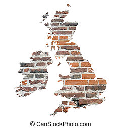 UK and Ireland map with brick background