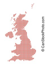 U.K. and Northern Ireland Dot Map Silhouette