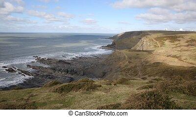 UK atlantic coast north sandymouth - View of the UK atlantic...