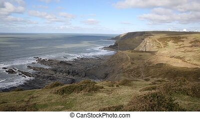UK atlantic coast north sandymouth - View of the UK atlantic...