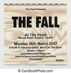 UK band The Fall concert gig ticket from 2007 isolated on white