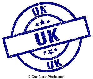 uk blue round grunge stamp