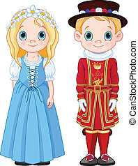 UK Boy and Girl - Boy and Girl in UK folk costumes.