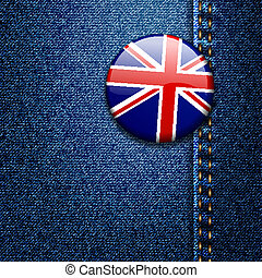UK Bright Colorful British Flag Badge on Denim Fabric Texture Jacket