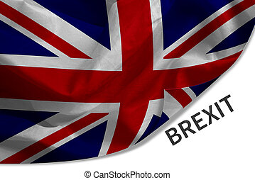 UK, British flag, Union Jack with Brexit word