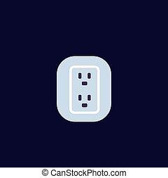 uk, british socket icon, vector