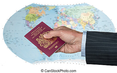 UK Citizen with passport and world map