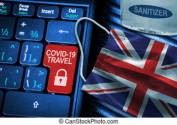 UK COVID-19 Coronavirus Travel Restrictions Concept With British Flag