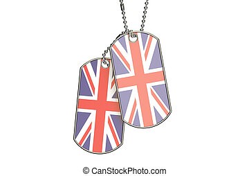 UK Dog Tags, 3D rendering