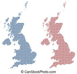 UK Dot Maps Red/Blue