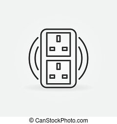 UK Double smart socket vector concept icon in outline style