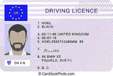 Uk driver license id card, cartoon style