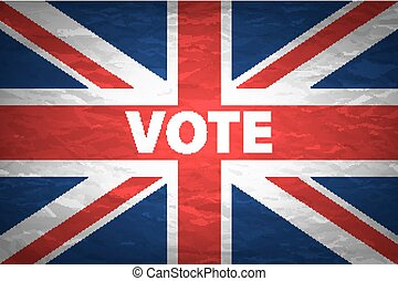 UK Elections Concept Image - Mix of Vote and British Flag Badges in Pile
