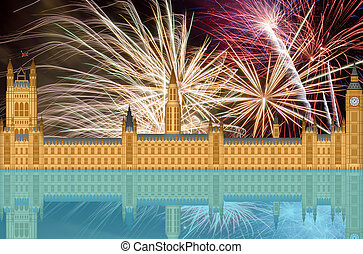 UK England London Skyline with Fireworks