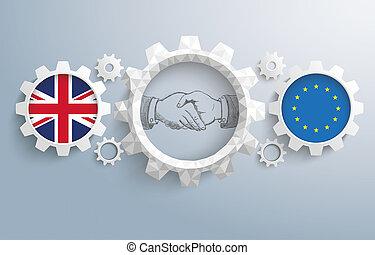 UK EU Partnership Gears Handshake - UK and EU flag with...