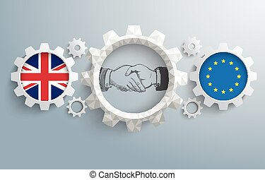 UK EU Partnership Gears Handshake - UK and EU flag with...