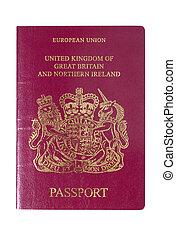 uk, europeaan, paspoort, voorst dekken