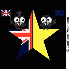 UK exit from the European Union symbol on black background -...