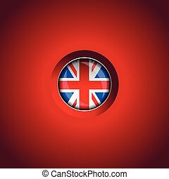 UK Flag button on red field vector