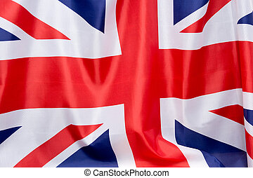 UK Flag flutters in the wind. The place to advertise, template.