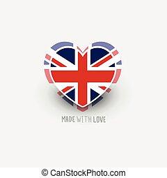 UK Flag Heart Shape Vector