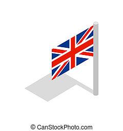 UK flag icon, isometric 3d style
