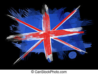 UK Flag in Black Background