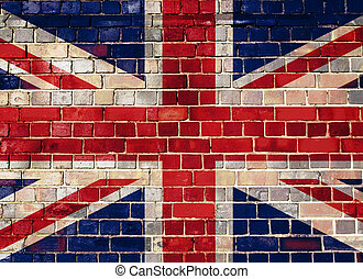 UK flag on a brick wall background - Union flag on a brick...