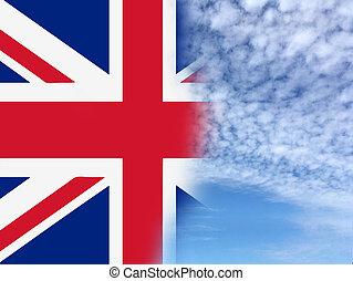 UK Flag on Blue sky background