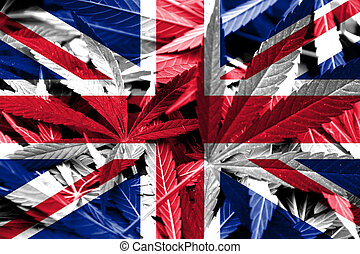 UK Flag on cannabis background. Drug policy. Legalization of...