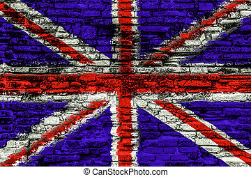UK flag on old brick wall