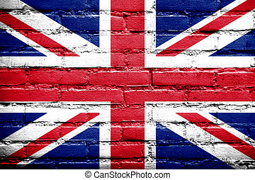 UK Flag painted on old brick wall
