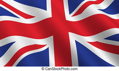 Flag of the United Kingdom - high resolution detail with cloth texture - seamless loop
