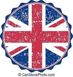 UK flag stamp with grunge. Vector illustration
