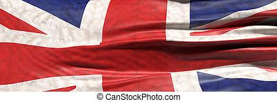 UK flag, United Kingdom waving sign symbol background texture. 3d illustration