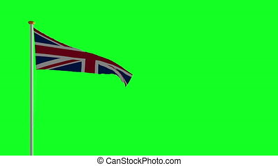 UK flag waving in the wind green screen
