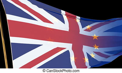UK flag waving in the wind turning into EU flag on black background, with alpha channel