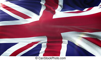 UK FLAG waving on sun. Seamless loop with highly detailed fabric texture. Loop ready in 4k resolution.