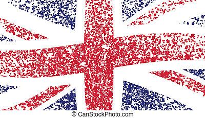 UK flag, wavy - grunge illustration