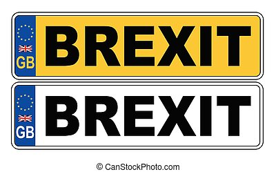 UK Front And Back Number Plate With Text Brexit
