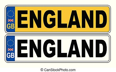 UK Front And Back Number Plate With Text England