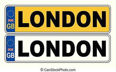 UK Front And Back Number Plate With Text London