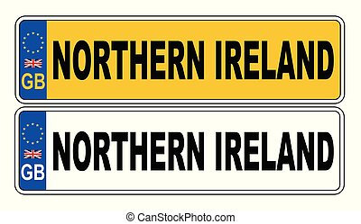 UK Front And Back Number Plate With Text Northern Ireland