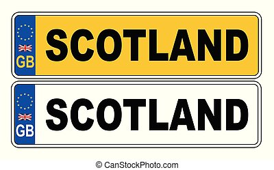 UK Front And Back Number Plate With Text Scotland