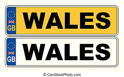 UK Front And Back Number Plate With Text Wales