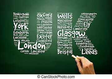 UK Hand drawn letters with cities names words cloud concept on b